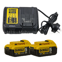 DEWALT DCB115-XE 18V / 20V XR Li-Ion CHARGER WITH 2 X DCB184 5.0 AH BATTERIES