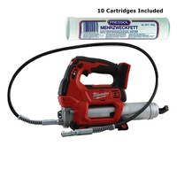 Milwaukee 18V Cordless 2 Speed Grease Gun 2646-20 & 400gm Cartridge x 10