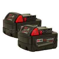 2 X MILWAUKEE 48-11-1840 18v M18 RED LITHIUM XC 4.0 Extended Capacity Batteries
