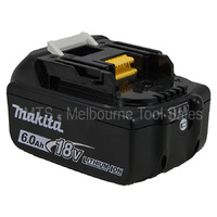 Makita Genuine 18V Lith - Ion 6.0 Ah Battery BL1860 with Led Charge Indicator