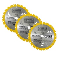 "3 x Dewalt Circular Saw Blades 7-1/4"" 24t Framing Carbide Thin Kerf  - DW3178"