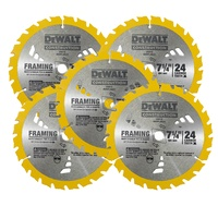 "5 X Dewalt Circular Saw Blades 7-1/4"" 24T Framing Carbide Thin Kerf  - Dw3178"