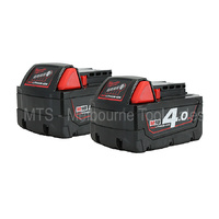 2 X MILWAUKEE 18V 4.0AH RED LITH - ION BATTERY M18B4