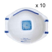 10 X Portwest P201 Ffp2 Valved Dust Mask Respirator Mist - Disposable