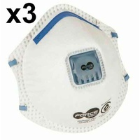 Force 360 P2V Disposable Respirator Dust Mask x 3