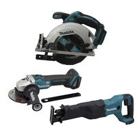 MAKITA 18V 3 PCE COMBO LITHIUM - CIRCULAR SAW RECIPROCATING SAW AND GRINDER