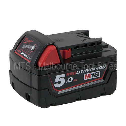 Milwaukee M18 M18B5 / 48-11-1850 18v 5.0 Ah Red Lith - Ion Battery